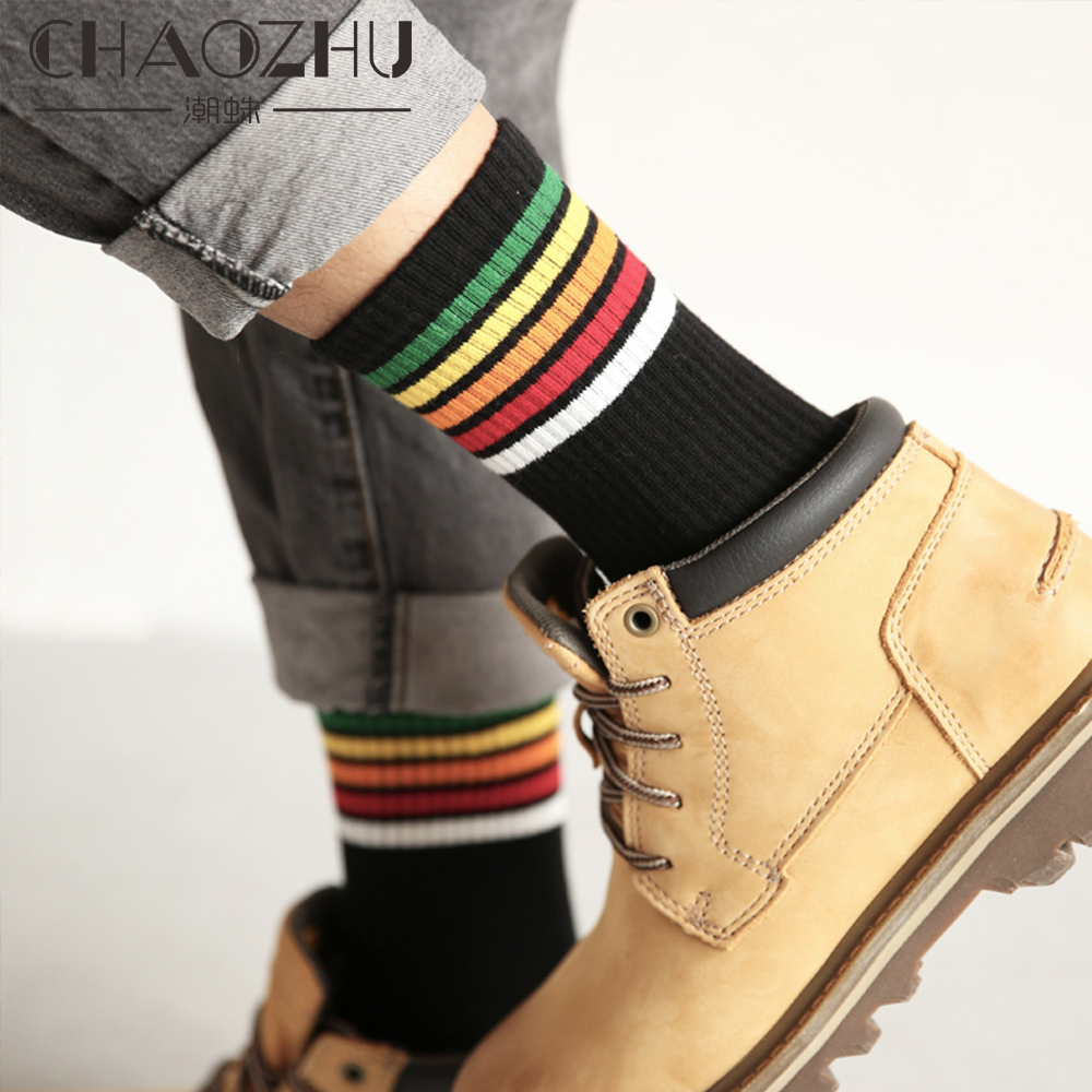 CHAOZHU High Quality Cotton Knitting Rainbow Striped Top White Black Grey Women Men Fashion Causal Socks Brand Skateboard Socks