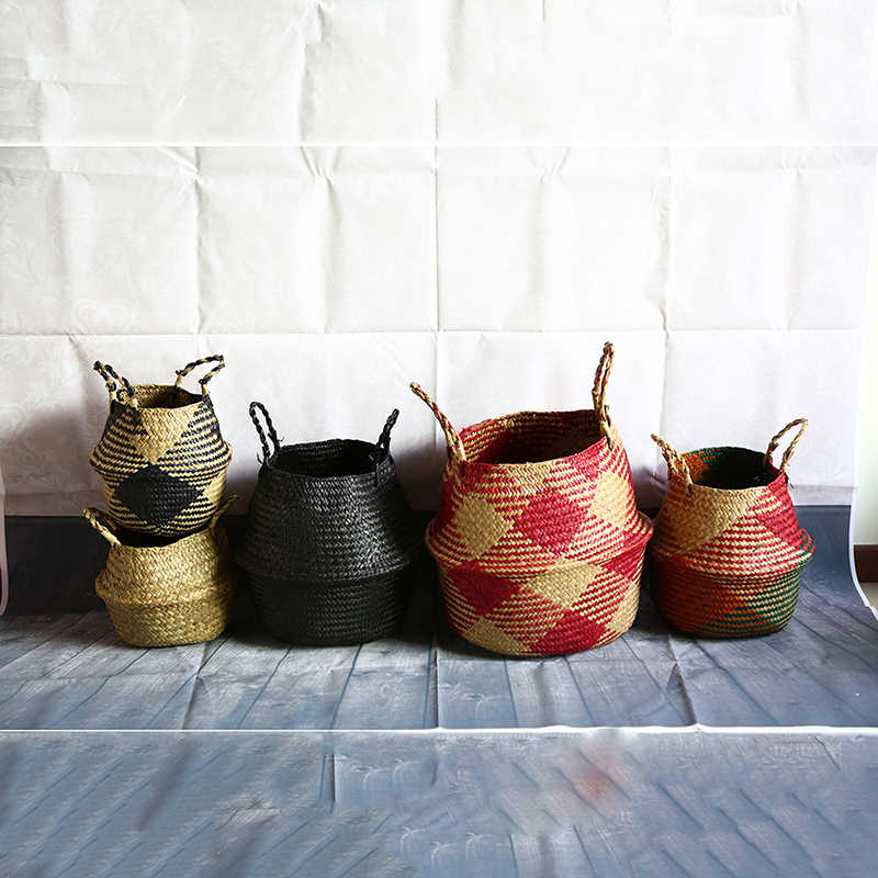 WHISM Folding Seagrass Basket Striped Storage Basket Wicker Laundry Basket Garden Flower Pot Hanging Handle Storage Organizer