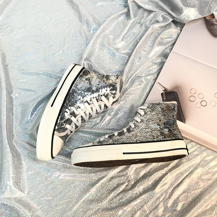Tleni 2018 New High Top White Women Flats running Shoes Ladies Canvas Shoes lace-up Bling Bling sneaker shoes ZK-20 9