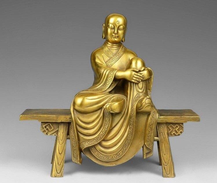Ev ve Bahçe'ten Statü ve Heykelleri'de 8 Tibet Budizm Pirinç Bakır Tapınak Tezgah Buda Bodhisattva Arhat Keşiş Heykeli title=