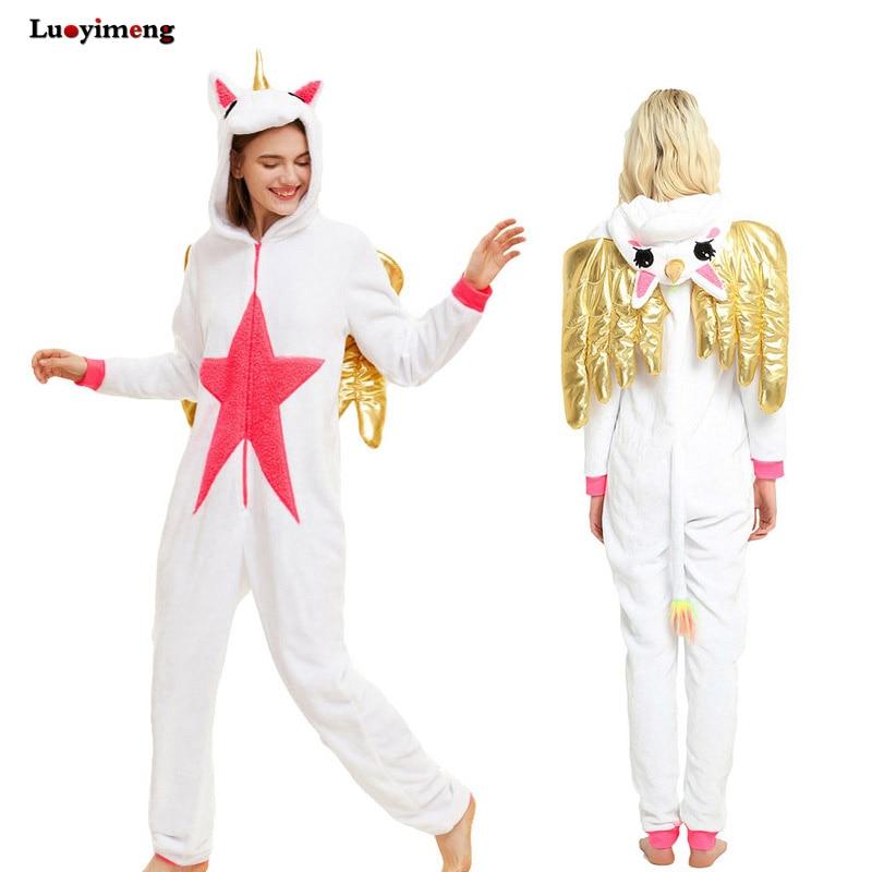 Nieuwe Eenhoorn Pijama Met Vleugels Winter Unisex Volwassen Pyjama - Carnavalskostuums