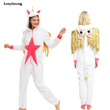 New Unicorn Pijama Dengan Wings Winter Unisex Adult Pajamas Cosplay Costume Animal Onesie Women Men Sleepwear pijama de unicornio