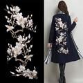 Кружева Патч Роскошный cheongsam вечернее платье аппликация из органзы 3D вышивка Магнолия цветы кружевной ткани RS791