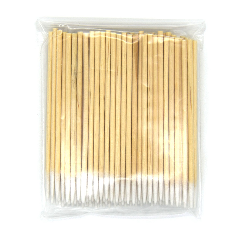 100 Pcs Pointed Wood Cotton Head Tattoo Sticks Dedicated Clean Cotton Swab Stick For Pro Eyebrow Lip Tattoo Beauty Makeup