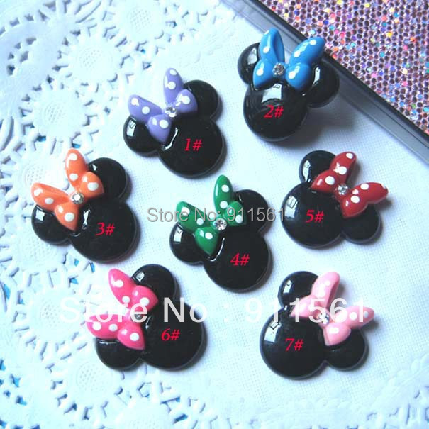 Wholesale 35pcs/Lot, miniature Mickey Mouse resin Cabochons Flat back (27x26mm) 7colors, for DIY phone decoraton