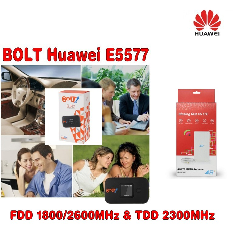 Unlocked Huawei E5577 CAT4 150Mbps 4G LTE FDD 1800MHz TDD 2300Mhz Wireless Router +49dbi 4g antenna TS9 connector original unlocked huawei e3372 m150 2 lte fdd 150mbps 4g lte modem support lte fdd 800 900 1800 2100 4g crc9 49dbi dual antenna
