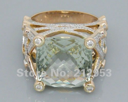 14.35Ct Solid 18Kt Rose Gold Engagement Green Amethyst Wedding Ring Fine Jewelry for Women Anniversary Gift цена