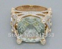 14.35ct одноцветное 18kt розовое золото Обручение Зеленый Аметист обручальное кольцо Ювелирные украшения для Для женщин Юбилей подарок