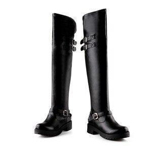 Image 2 - MORAZORA bottes au dessus des genoux pour femmes, chaussures punk, à la mode, à talons, en cuir PU souple, grandes tailles 34 43