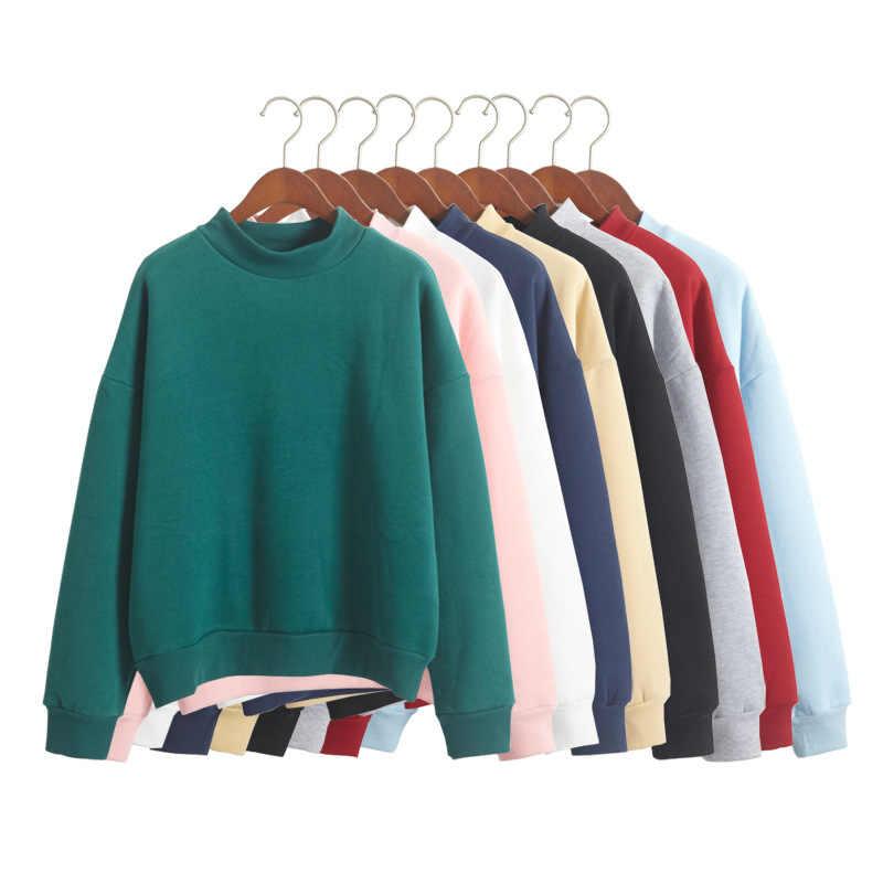 Laamei Autumn Kawaii Fleece Pullover Top Women Female Simple Solid Casual Hoodies  Sweatshirts Harajuku Pink Sweatshirt 7d992df30944
