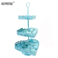 KCYPOTGO 3 tier/ 2 tier Heart shaped Metal cupcake stand for afternoon tea/wedding, Muffin cups cake Display tray (blue)