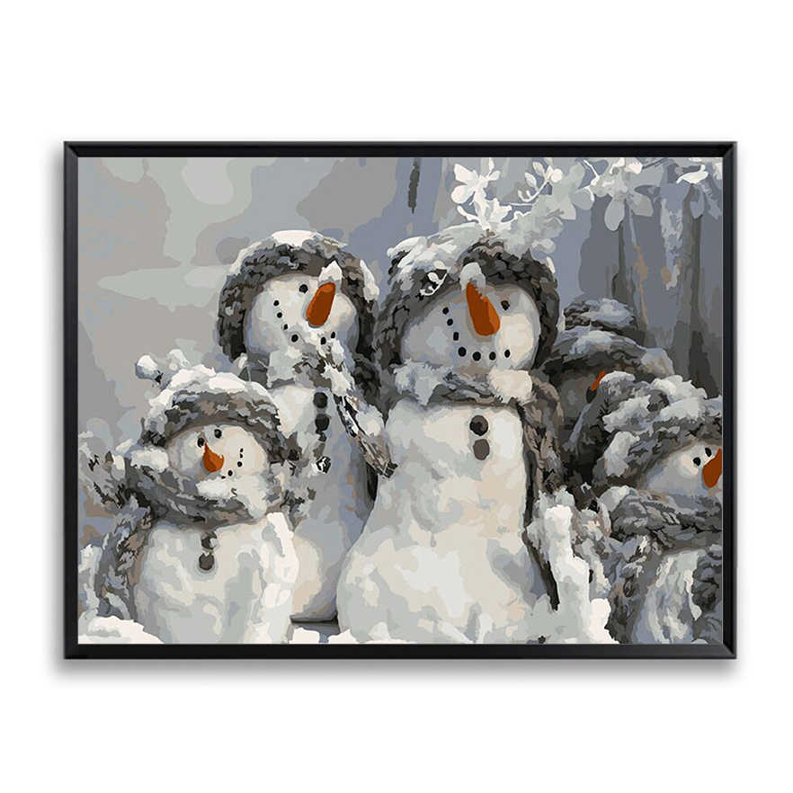 Canvas Picture for Living Room Wall Abstract Oil Painting by Numbers Cute  Snowman Drawing By Numbers Unique Christmas Gift