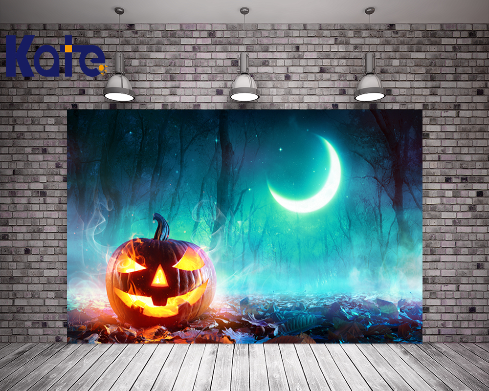 Kate Night Pumpkin Halloween Backdrops for Photography  Moon Studio Photography Background Children Forest Party Stage Backdrop allenjoy background for photo studio full moon spider black cat pumpkin halloween backdrop newborn original design fantasy props