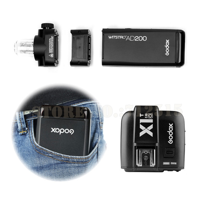 FOR Olympus GODOX-AD200-TTL-2-4G-HSS-1-8000s-Pocket-Flash-Light-Double-Head-200Ws-with-2900mAh