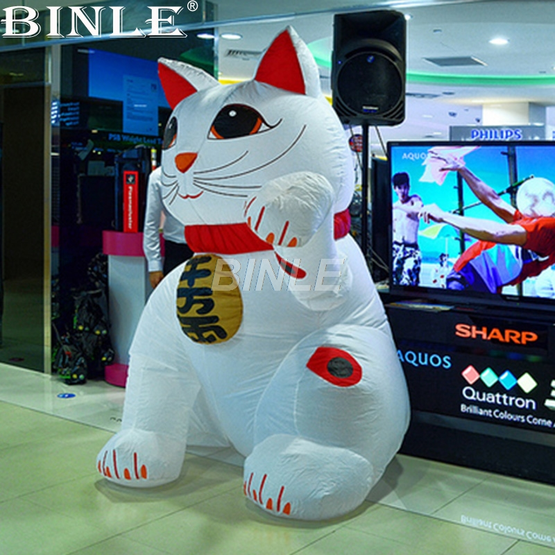 Custom funny white inflatable lucky cat model giant inflatable fortune cat model for advertising цена и фото