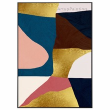 Multicolor Geometry Abstract Hand Painted Acrylic Canvas Oil Painting Wall art Pictures For Home caudros decoracion