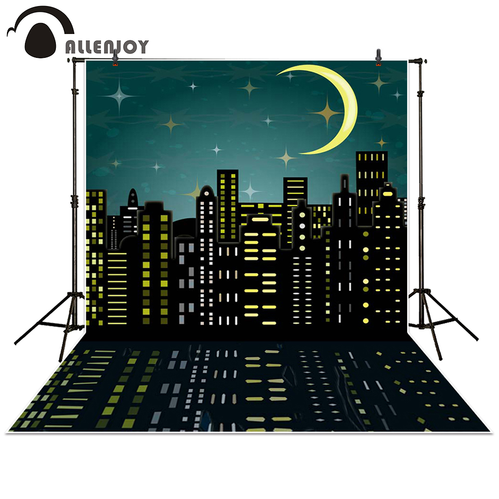 Allenjoy photography backdrop building Moon Superhero City night baby shower children background photo studio photocall