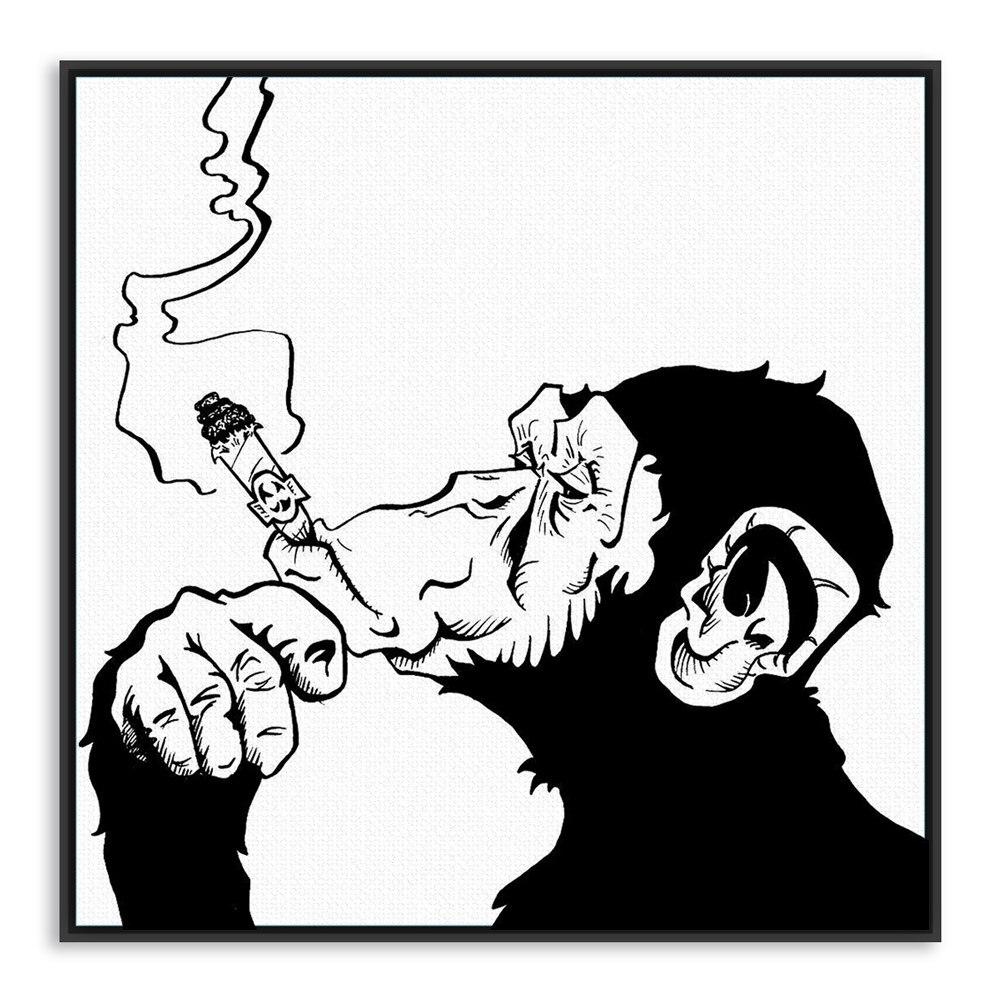 Mega Deal B0c5 Fashion Black White Smoking Gorilla Animal A4