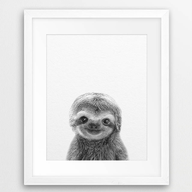 Cute Baby Animal Sloth Wall Art Canvas Prints Painting Poster For Kids