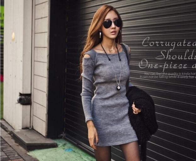 90cd0493b2 Sexy Women Black Grey Off Shoulder Crew Neck Long Sleeve Slim Fit Knit  Knitwear Sweater Dress