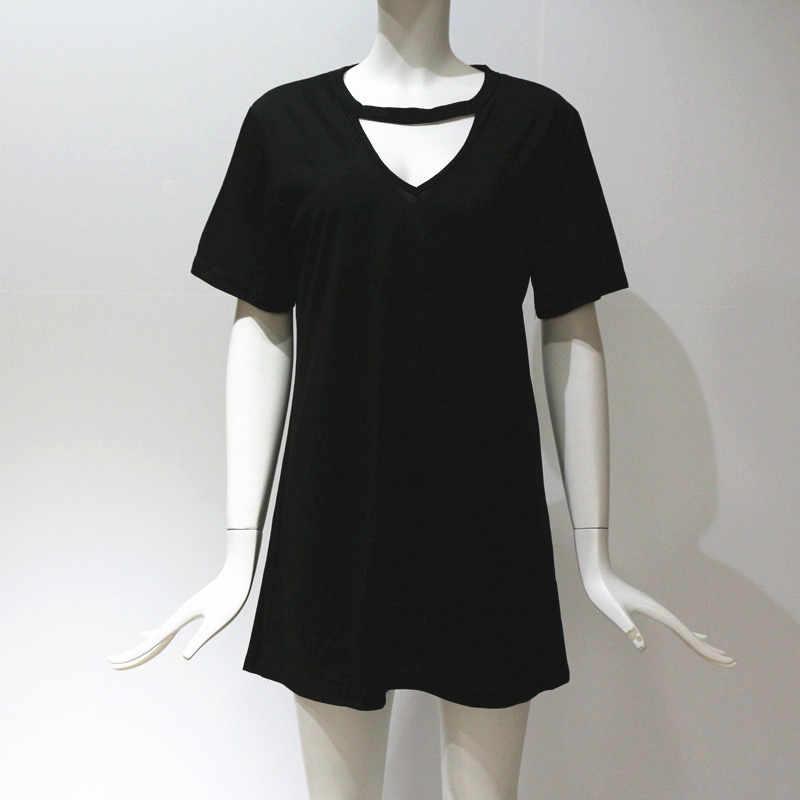 Женское сексуальное платье-чокер с v-образным вырезом, летнее платье с бретелькой, футболка, платье 2019, повседневное свободное Черное мини-платье с коротким рукавом