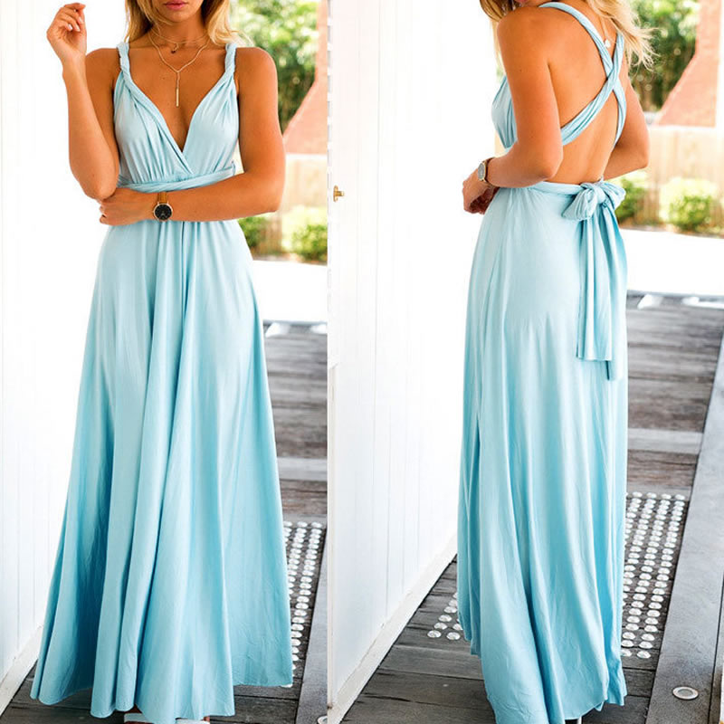 2017 Y Summer Long Maxi Dress Bandage Multiway Bridesmaids Convertible Women Infinity Wrap Beach Vestidos In Dresses From S Clothing