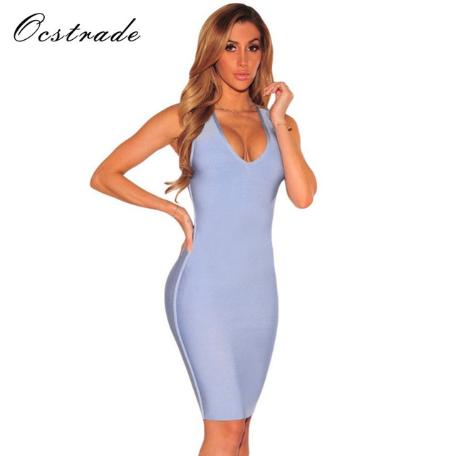 823dd39c8c07a Ocstrade Sexy Bandage Dress 2017 Summer New Arrival Women Light Blue v Neck  Backless Bodycon Dress Wholesale HL