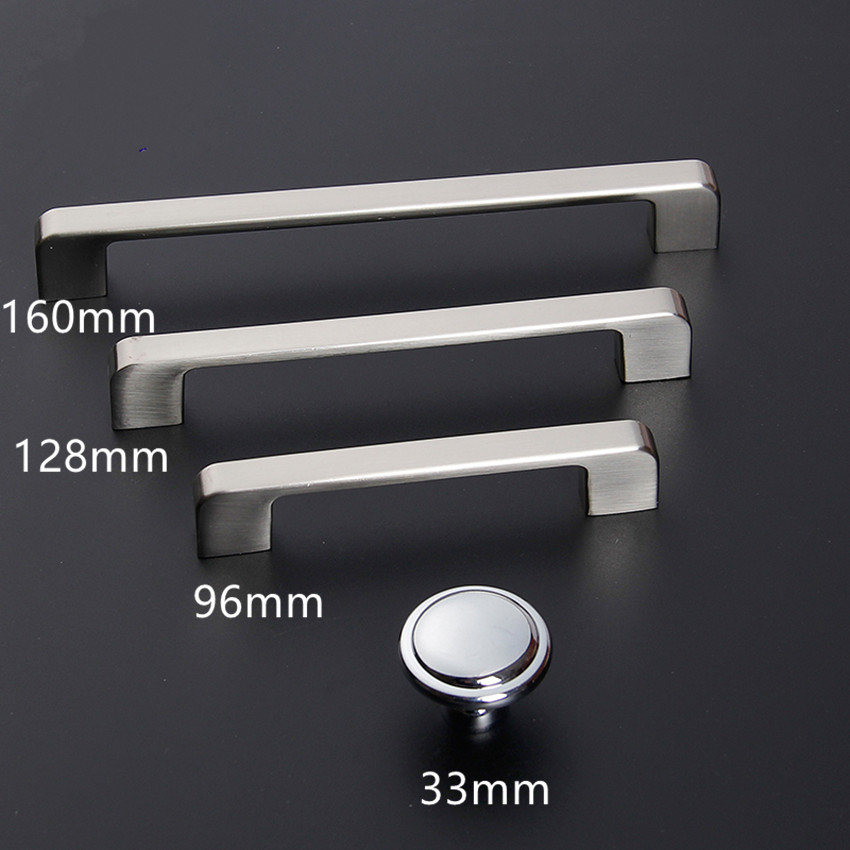 96128160 modern simple furniture handle silver chrome kitchen cabinet drawer pull knob stainless steel dresser handle 5 6.3 mini stainless steel handle cuticle fork silver
