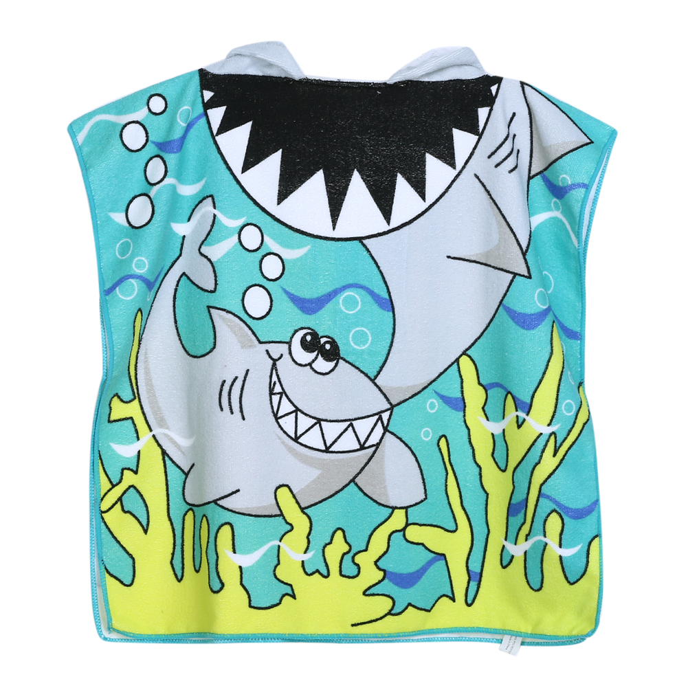Shark Pattern Beach Towel Kids Hooded Cloak Cartoon Baby Boys Girls Towel Bibulous Towel For Children Serviette De Bain