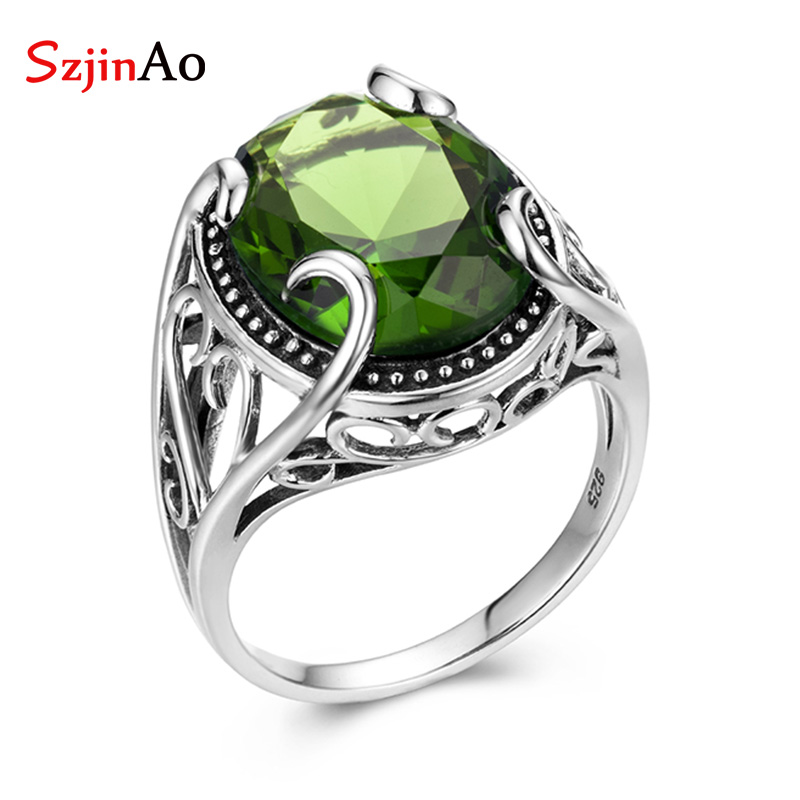 SzjinAo Vintaga Solid 925 Sterling Silver Oval Peridot Rings For Women August Birthstone Brand Fine Jewelry Engagement GiftSzjinAo Vintaga Solid 925 Sterling Silver Oval Peridot Rings For Women August Birthstone Brand Fine Jewelry Engagement Gift