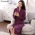 Пижамы халаты Женщины Длинные хлопок халат Женщины lounge robe