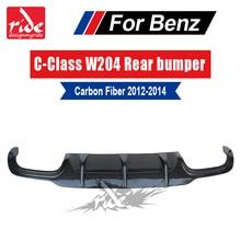 цена на High-quality Carbon fiber No hole rear bumper Diffuser Lip for Mercedes Benz W204 C180 C200 C300 C63 2012-2014 Sport Rear Bumper