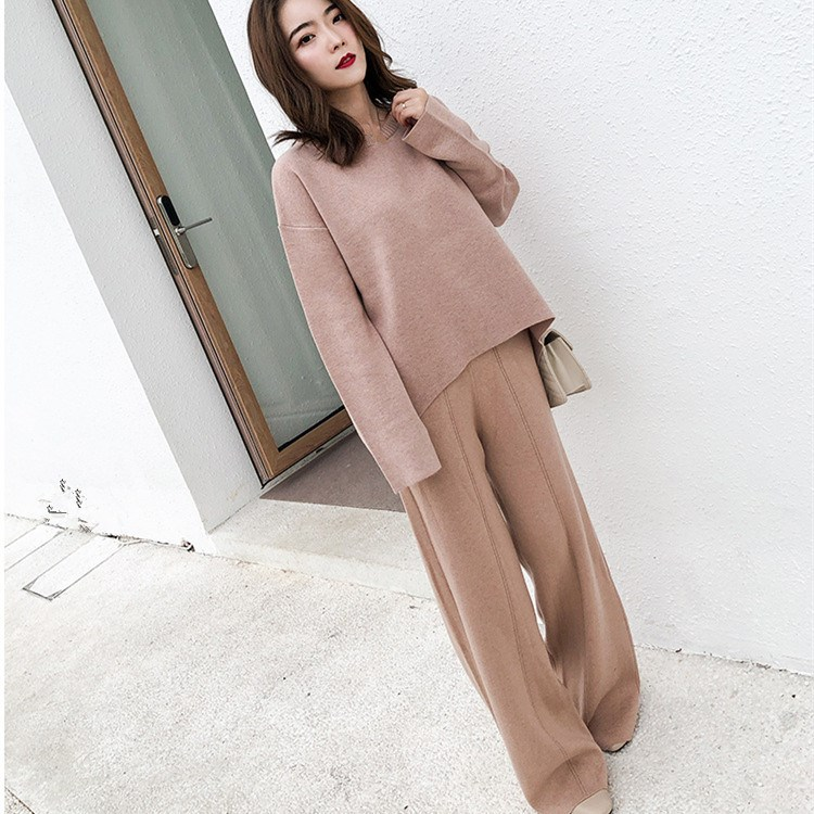 Autumn Pullover Tops wide Leg Pants Knitted 2 Piece Set Long Sleeve Slit Sweaters Suit Female Tracksuit Casual Suit