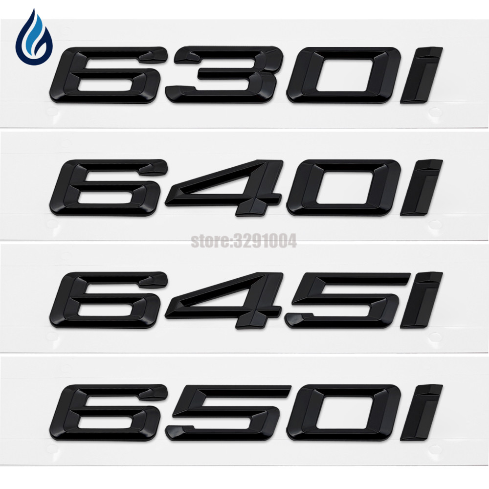 Black 630i 640i 645i 650i Tail Trunk Letter Emblem Badge Logo Sticker For BMW 6 Series E24 E63 E64 F06 F12 F13 Car Styling black color car emblem sticker rear tail sticker logo rs3 rs4 rs5 rs6 badge logo 3d aluminum alloy for audi rs3 rs4 rs5 rs6