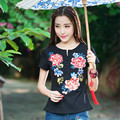 Five Color New Large Size Women's Fashion Summer Embroidery Slim Short Sleeve T-shirt Embroidery National Wind 4XL