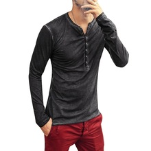 HEFLASHOR 2019 Men Shirt V-neck Long Sleeve Tee&Tops Stylish Slim  T-shirt Button Casual Male Clothing Plus Size 3XL