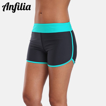 Anfilia Women's Swim Trunks Bikini Bottom Ban Colorblock Swimwear Briefs Split Swimming