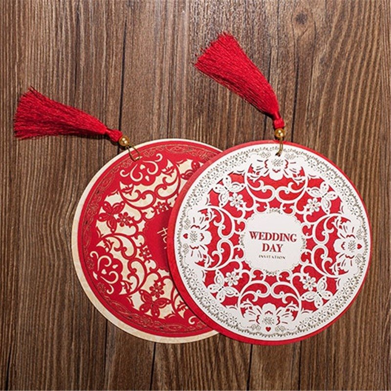 Wedding Invitations Card 154cm Chinese Style Diameter Floral Design Envelope Pure Love Red White Elegant Round Party Supplies In Cards From