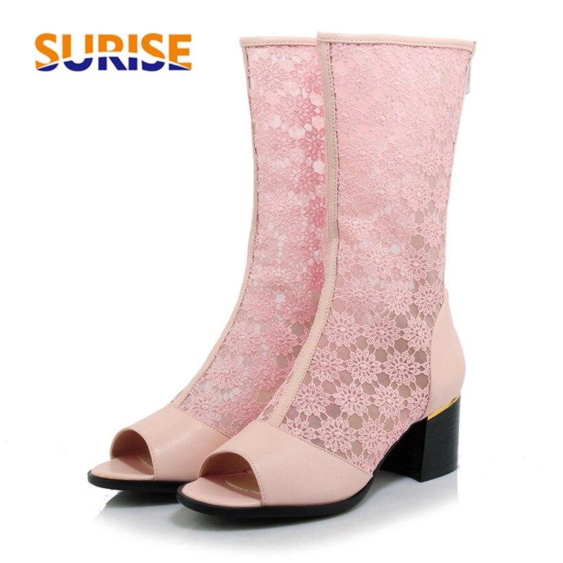 Summer Women Mid-calf Boots 5.5cm Medium High Block Heel PU Embroider Mesh Open Toe Zipper Sexy Party Casual Pink Lady Half Boot double buckle cross straps mid calf boots