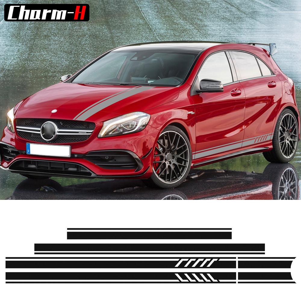 Edition 1 Style Side Skirt Racing Stripes Roof Hood Bonnet Vinyl Decal Stickers for Mercedes Benz A Class W176 A45 AMG A200 A180 yandex w205 amg style carbon fiber rear spoiler for benz w205 c200 c250 c300 c350 4door 2015 2016 2017