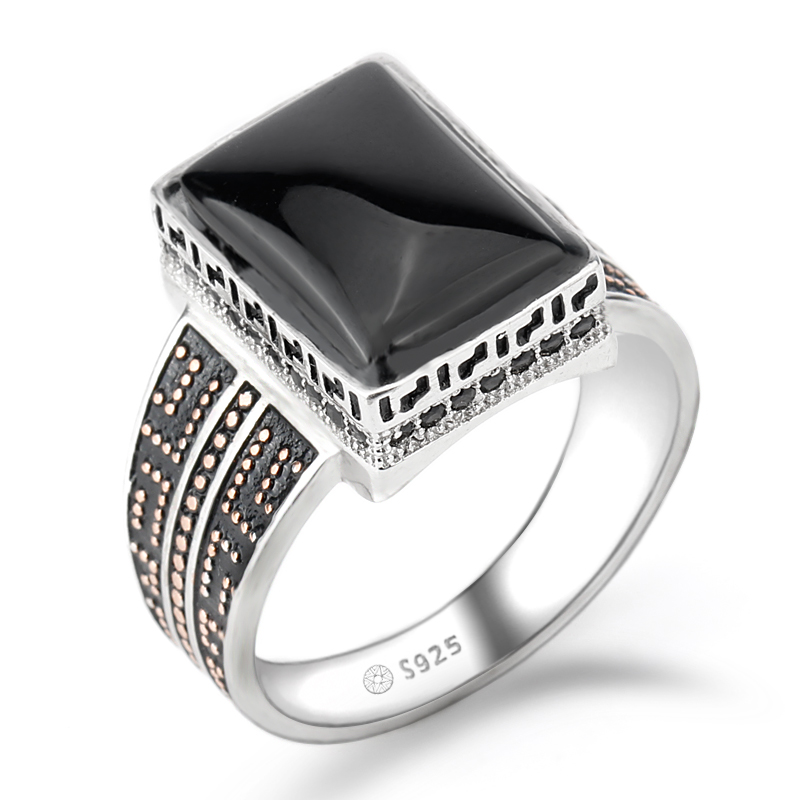 925 Sterling Silver Ring Punk Geometric Rectangle Black Agate Stone Small Zircon Stone Ring for Men Wedding Fine Jewelry one piece simple geometric rhinestone alloy ring for men