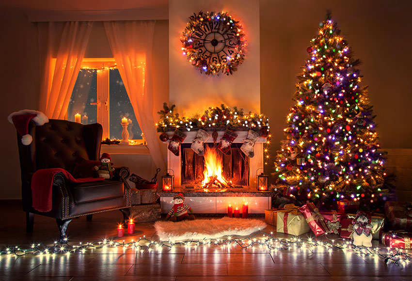 Holiday Christmas Background.Us 7 5 40 Off Christmas Background Photography Winter Snow Shining Light Christmas Tree Fireplace Decor Holiday Celebrate Party Photocall In