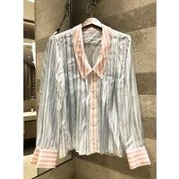 Милая кукла воротник складки цвет Молодежный толстый кретон шелковая рубашка повседневная женская рубашка с длинными рукавами Топ