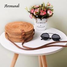 Arsmundi Women Round Shoulder Bag Mori Beach Buckle Retro Literary Hand-woven Handbag Summer Woven Rattan Messenge Straw