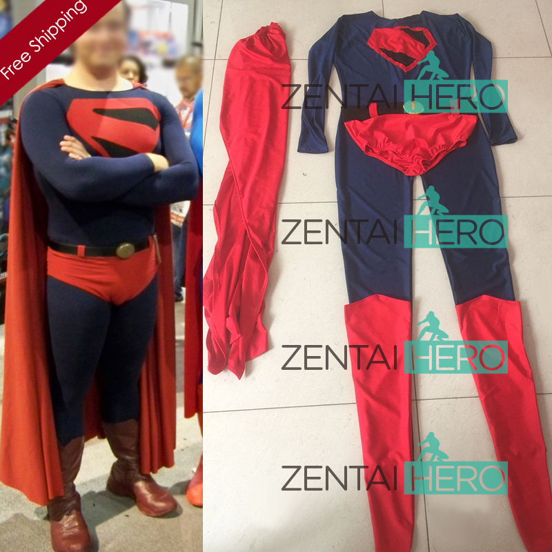 Free Shipping DHL Adult 2017 Halloween Superman Costume Navy Lycra Spandex Zentai Catsuit With Red Cloak 16070601