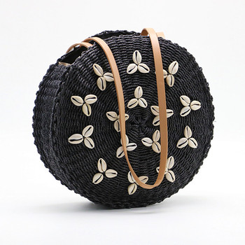 2020 New shell sun Round bag straw women's handmade  woven basket wicker Summer Grass Bags totes - discount item  49% OFF Women's Handbags