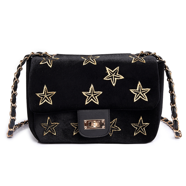 77191e2d50 Velour Crossbody bag Women Star Embroidery Bag Small Handbags Women Purse  Designer Ladies Chain Velvet Shoulder Messenger Bags