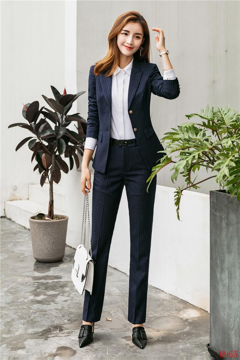 2019 Spring Summer Formal Elegant Women's Ladies Blazer Women Business Suits Pant and Jacket Sets Work Wear Office Uniform OL