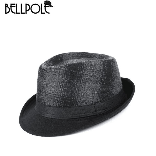 Classic Fedora Top Hat Men Wool Felt Hats Plaid Fedora for Men Panama  Bowler Wide Brim Hat High Quality hombre chapeau cbb3f3f9f9d