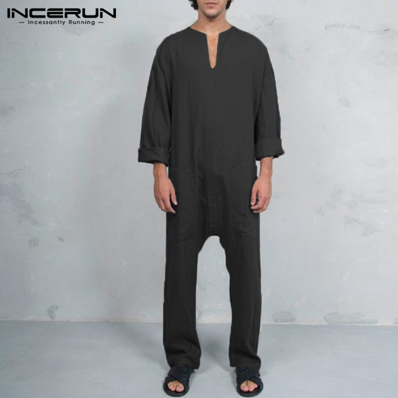 INCERUN 2020 3XL Mens Jumpers Fashion Jumpsuits V Neck Muslim Kaftan Spring Autumn Overalls Working Trousers Pockets Overalls